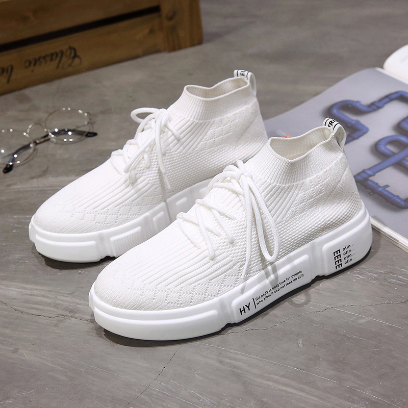 2018 Woman Fashion Casual shoes Summer Mesh Air Socks Style Breath shoe Lace Up Walking Ladies Sneakers