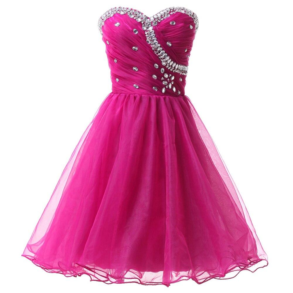 White Short Prom Dresses 2017 Knee Length Ball Gown Blue Black Pink ...