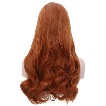 JOY&BEAUTY Orange Free Part Wavy 28 Inch Heat Resistant Hair Hand Tied Lace Part Masquerade Daily Synthetic Lace Front Wig