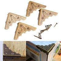 4Pcs Antique Mental Corner Decorative Protector Jewelry Box Gift Wine Chest Box Wood Case Feet Leg