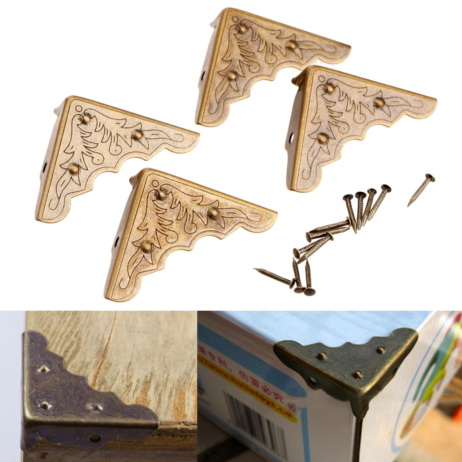 4Pcs Antique Mental Corner Decorative Protector Jewelry Box Gift Wine Chest Box Wood Case Feet Leg Corner Guard for Furniture 12pcs antique metal decorative protective corners jewelry box gift wood case feet leg corner guard for furniture 24 screws
