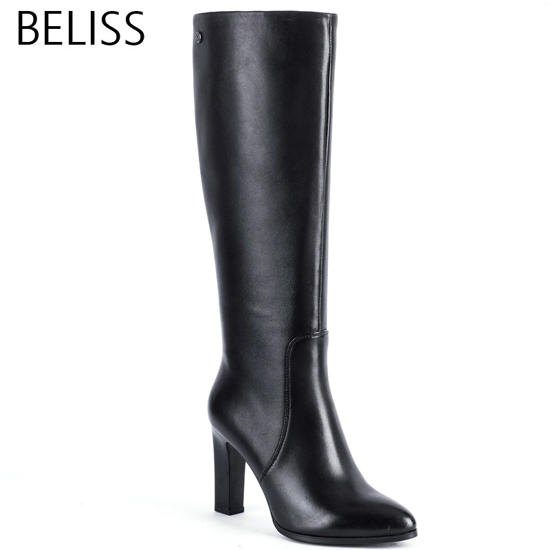 BELISS 2018 fashion boots knee high women high quality ladies boots heel high genuine leather pointed