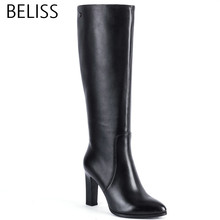 BELISS 2018 fashion boots knee high women high quality ladies boots heel high genuine leather pointed toe spring autumn H1 недорого