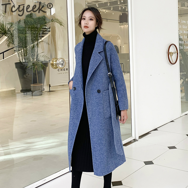 835023bffa1f1f Laine Pardessus coffee Longue Slim Femme Manteaux Femmes Vestes gray  Breasted Hiver Lwl1395 Printemps Tcyeek Blue ...