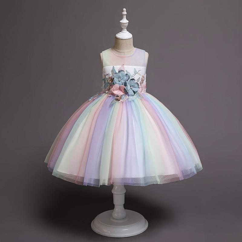 Girls'Ceremony Party Embroidery Dress Flower Girls' Beaded Wedding Garment Party Dress Children's Pengpeng Show Costume