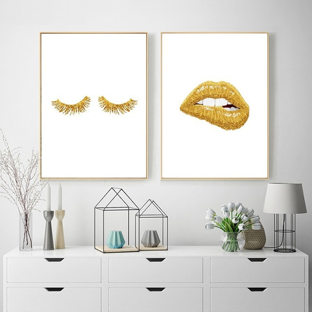 Gold Lip Art Fashion Poster Print