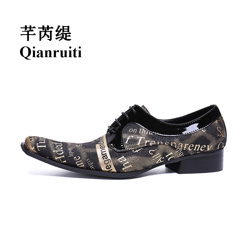 Qianruiti Men's Canvas Shoes Lace-up Loafers Pointed Toe Printing Letters Shoes Chaussure Homme Plus Size EU39-EU46 lace up letters pattern beam feet jogger pants