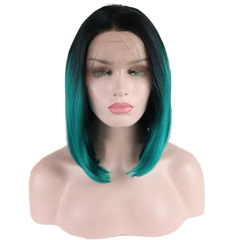 Synthetic Lace Front Hair Wigs Synthetic Ombre Green Straight Hair Short Wig For Women Cosplay Wig Nine Colors