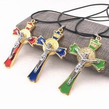 Fashion Men Jewelry Initial Letters Carved Imitation Gothic Jesus Cross Titanium Steel DIY Pendant Necklace