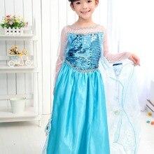 a84439493 Detal długi długi pełna sukienka dziewczyny księżniczka Anna kostium  cosplay Elsa dla dzieci sukienka na imprezę dla dzieci odzi.