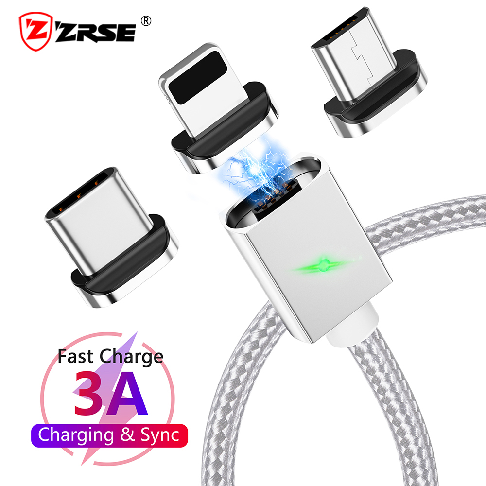 ZRSE 3A Fast Charging Magnetic USB Cable for Samsung Galaxy S9 S8 Type C Cable Huawei Xiaomi OnePlus Mobile Phone Charger Cord(China)