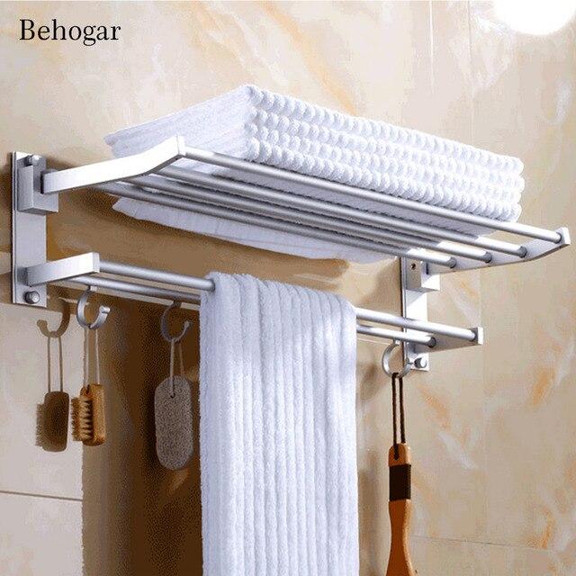 Behogar 40cm Foldable Bathroom Shower Wall Mounted Dual Layer Space ...