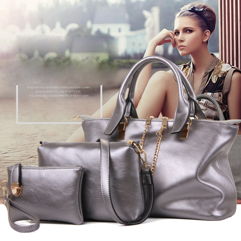 New brand chains top soft leather bag vintage handbag womens medium big tote bags female crossbody bags for women handbag 3 sets