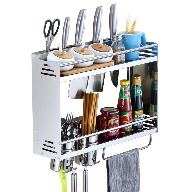 A1 Punch-free kitchen single double 304 stainless steel multi-function kitchen spice rack knife storage rack LU5153