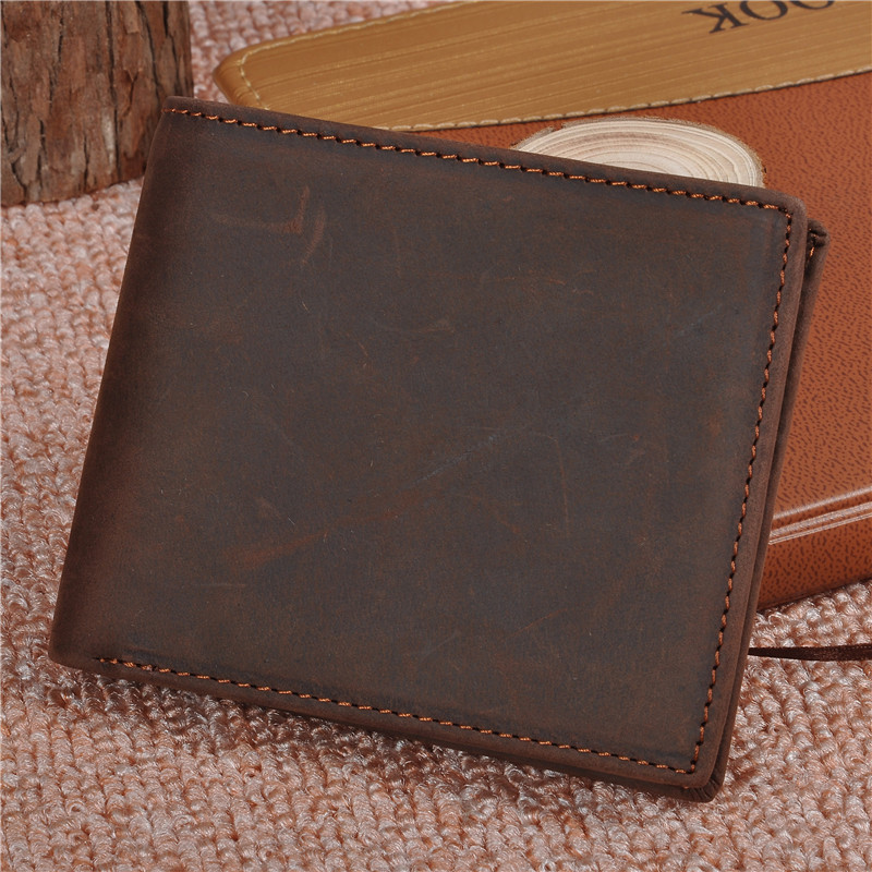 NEWEEKEND 8029 Vintage Genuine Leather Cowhide Crazy Horse Smooth One Fold Short Thin Cash Change Card Wallet Purse for Man