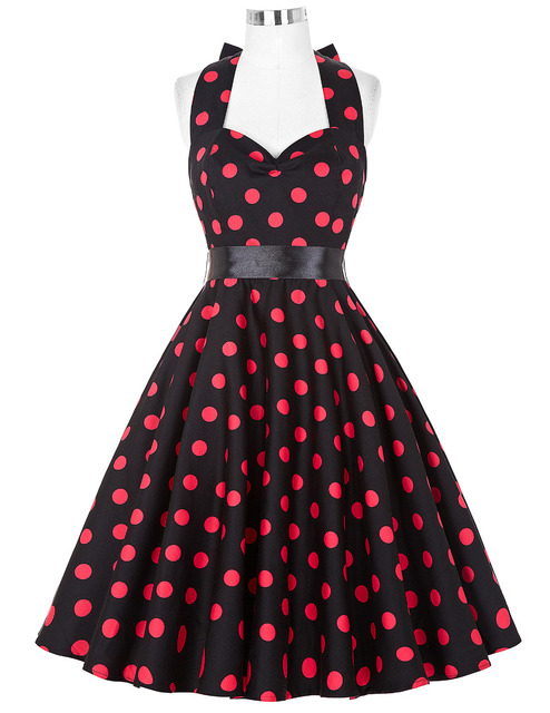 f21b83079e62 summer style women dress polka dot red black blue vintage party Beach Print  Casual vestidos Sleeveless
