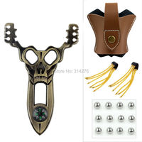 Powerful Skull Hunting Slingshot Catapult+Bat Design Brown Genuine Leather Pouch Bag Case