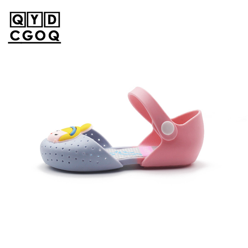 Mini Melissa Style 4 Color Princess Lovely Girls Jelly Sandals 2018 Girls Jelly Sandals Toddler Sandals Kids Shoes High Quality