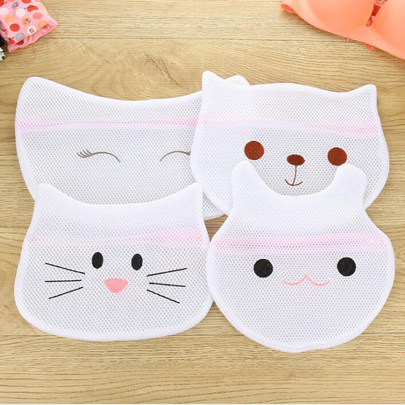 100pcs Cute Cartoon Animals Laundry Bag Underwear Bra Aid Lingerie Mesh Net Wash Bag Pouch Household Cleaning ZA6595