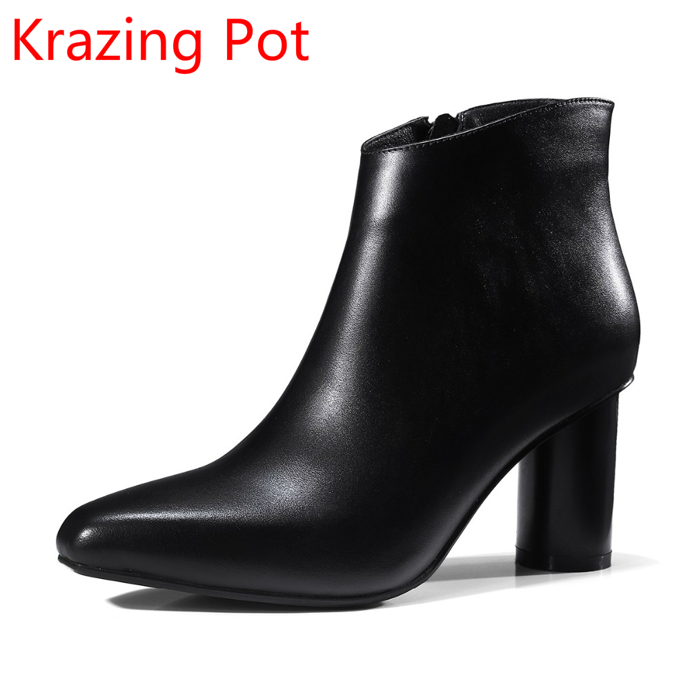 Genuine Leather High Street Fashion Boots Square Toe Round Heels Ankle Boots Women Winter Shoes Motorcycle Chelsea Boots L31 elastic band women genuine leather ankle boots chelsea hand made shoes motorcycle coincise fashion black matte women s boots