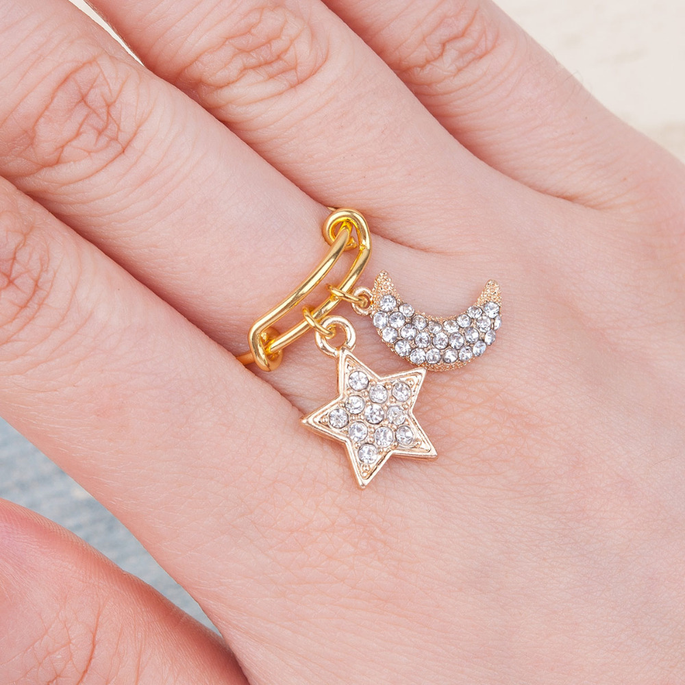 8SEASONS Copper Expandable Rings Double Bar gold color Clear ...