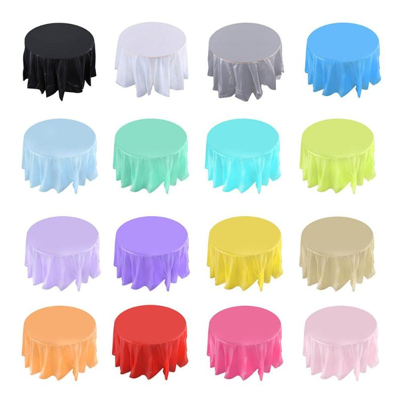 84in Round Tablecloth Pure Color Plastic Table Cloth Camping Wedding Party Dinner Tablecover Decoration