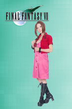 Free Shipping Final Fantasy VII Aerith Gainsborough Red Fighting Uniform Game Cosplay Costume