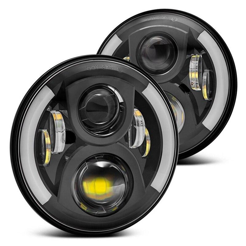 7 Inch LED Headlight Head light lamps H4 H13 White Halo Angel Eyes For Lada 4x4