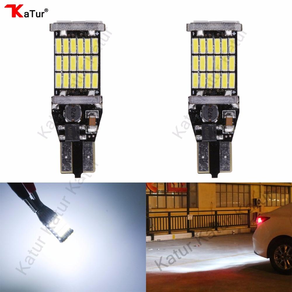 Katur 2Pcs T15 T16 W16W LED Reverse Light Bulb 920 921 912 Canbus 4014 45SMD Highlight LED Backup Parking Light Lamp Bulbs DC12V
