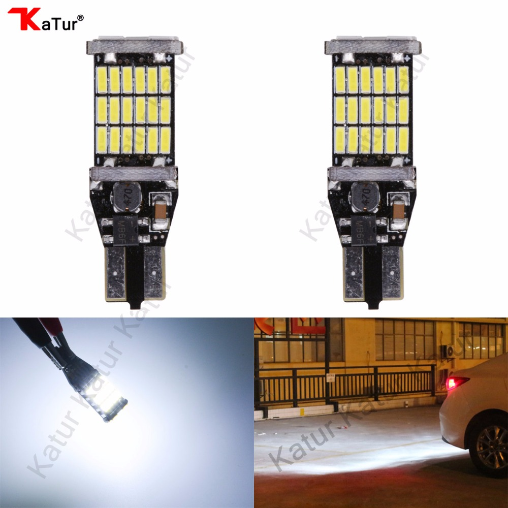 Katur 2Pcs T15 W16W LED Reverse Light Bulbs 920 921 912 Canbus 4014 45SMD Highlight LED Backup Parking Light Lamp Bulbs DC12V 2 x error free super bright white led bulbs for backup reverse light 921 912 t15 w16w for peugeot 408