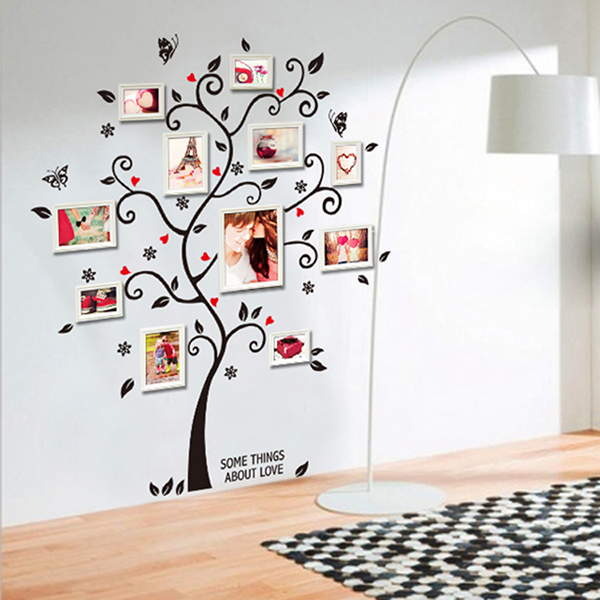 Chic Black Family Photo Frame Tree Butterfly Flower Heart Mural Wall Sticker Home Decor Room Decals