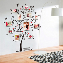 Chic Black Family Photo Frame Tree Butterfly Flower Heart Mural Wall Sticker Home Decor Wall Sticker