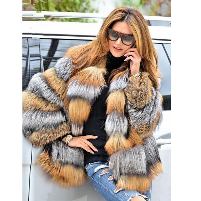 Шуба BFFUR из натурального Лисьего меха, роскошная зимняя женская шуба из натуральной кожи красного и серебряного цвета