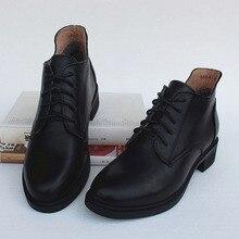 f88afcc72f4da Damskie buty Lace up botki 100% prawdziwej skóry czarny buty robocze  damskie zimowe Chelsea Boot kobiece obuwie (588- 8)