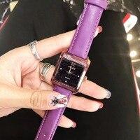 Nieuwe Mode Vierkante Vrouwen Jurk Horloges Populaire Snoep Kleuren Lederen Polshorloge Vogue Studenten Horloge Relogios Montre Femme W114