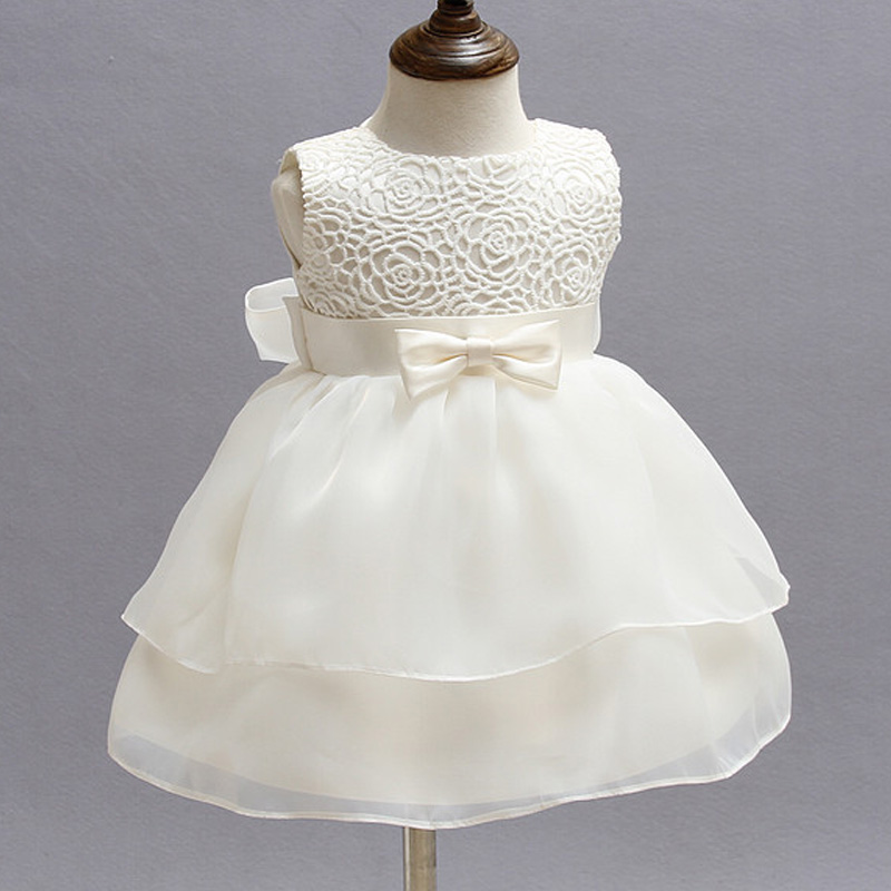Christening Gowns For Girls Ivory Baby Girl 1 Year Birthday Dress Chiffon Girl White Princess Dress For Kids Baptism Gowns Girls