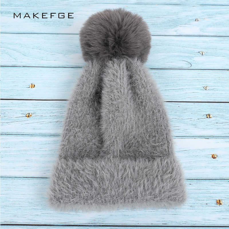ca76d93ed8b New Fashion Lady Angora Wool Knit Beanies Pompom Winter Woman s Hat High  Quality Solid Color Soft