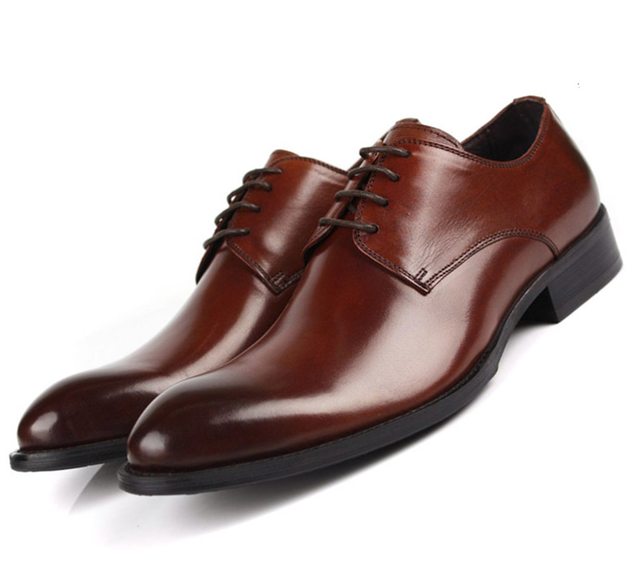 Fashion Brown tan / Black / brown dress shoes mens casual business shoes genuine leather office shoes pointed toe oxfords shoes