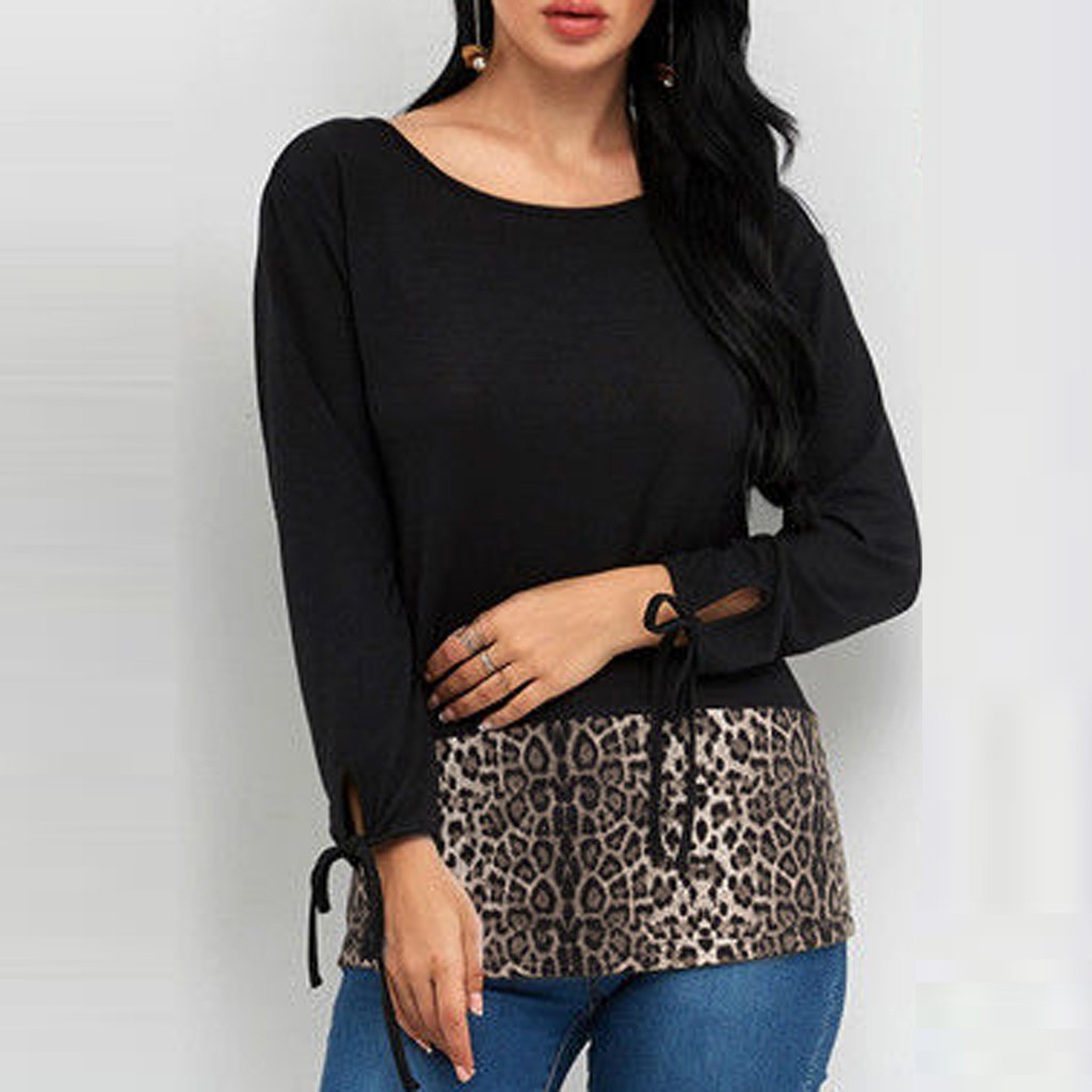 Leopard Splice Plus Size Sexy Womens t-shirt fashion Female Long Sleeve Casual Tunic Tops t-shirt clothes camiseta mujer