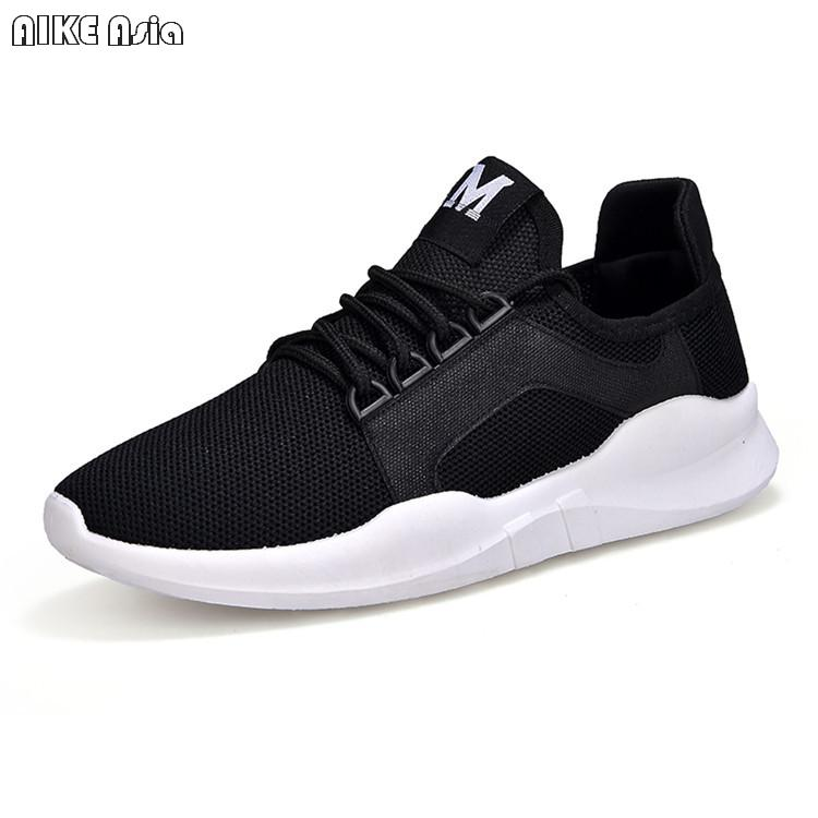 Aike Asia Hot Men's Casual Shoes Mens Mesh Casual Shoes Flying Woven Trend Running Shoes Wild Breathable Sports Shoes High Quality Cushion Shoes
