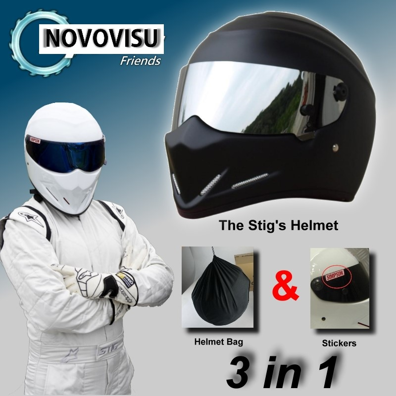 цена на For NOVOVISU The STIG Matte Black Helmet with Silver Visor Capacete Casco De / Bag+ SIMPSON Sticker For Gifts Moto Helmet