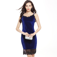 Women's casual dress sexy lace wild Slim swan Swan gold velvet strap hip pencil dress fashion summer new style