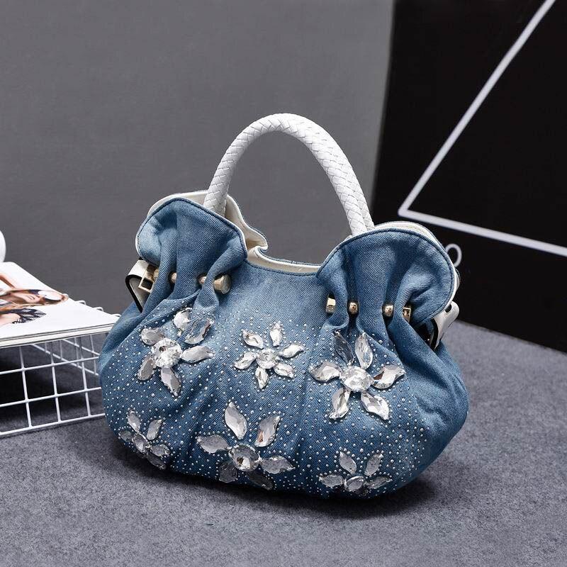 iPinee 2018 Woman Denim Handbags Bags Vintage Luxury Rhinestone Shoulder Bags Women's Small Bags Jean Bolsas Femininas For Women женские блузки и рубашки hi holiday roupas femininas blusa blusas femininas