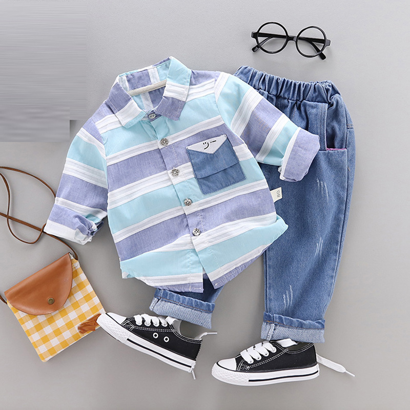 Spring Infant baby Boy clothing sets long sleeved shirt + jeans suit for newborn baby boys outfits clothes 1 year birthday sets