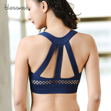 Купить с кэшбэком BLESSKISS 2018 Padded Sports Bra Push Up Yoga Top Fitness Women Hollow Out Dry Fit Running Gym Tank Top Sport Clothing Workout