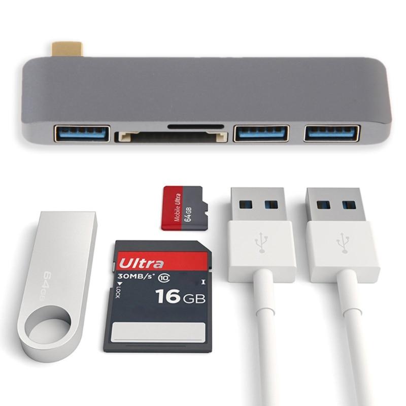 SD Carte Adaptateur 5in1 Type C À USB 3.0 Hub Adaptateur SD TF Lecteur de Carte Pour Chromebook MacBook Pro
