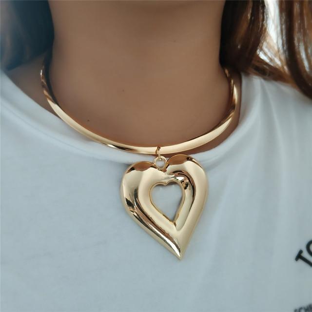 VIVILADY Trendy Heart Metal Jewelry Sets Gold Color Zinc Alloy Boho Choker Necklace Earring African Women Wedding Accessory Gift 1