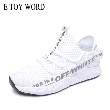 E TOY WORD 2018 Senhoras sapatilhas outono verão senhoras letras sapatos casuais respirável malha de caminhada sapatos baixos Tenis Feminino