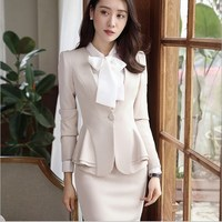 801dd21d5d53d Plus Size Women Slim Blazer Skirt Set 2 Pieces Ladies Designer Elegant  Skirt Suit Office Vintage