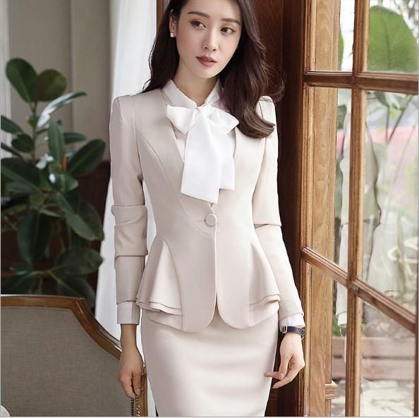 31d54225a Traje de falda Formal para mujer conjunto de Blazer de trabajo de 2 piezas  para mujer beige 4XL